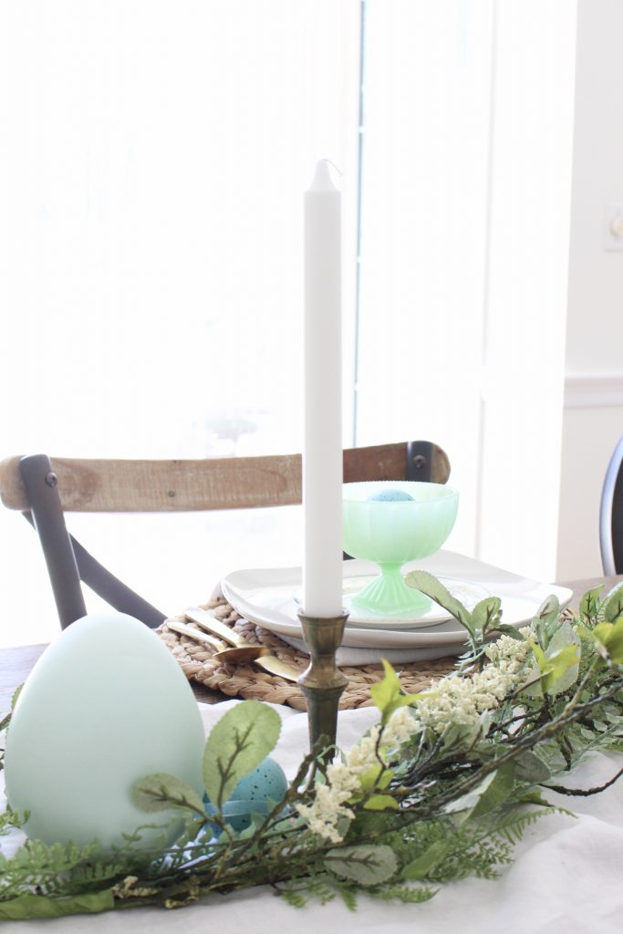 Easter- Tablescape- Pastel- milk glass- table setting- spring- decor- dining room- home decor- vintage china- Easter eggs- brass candlesticks