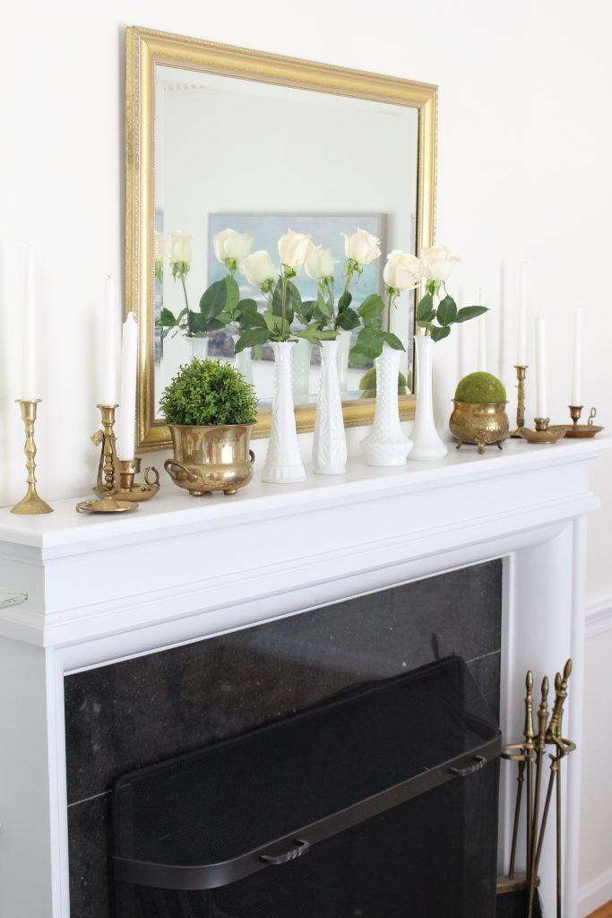 Summer mantel- mantle decor- home decor- antique brass- candlesticks- milk glass- dining room decorating- dining room decor- DIY- farmhouse dining room- french country dining room- fireplace decor- summer decorating- decoration ideas- room design- thrift store shopping- antiques- gold accents