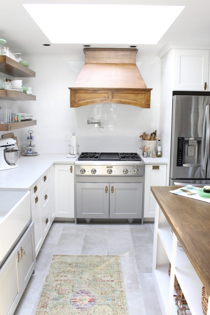 White- Cottage Kitchen- Renovation- Reveal- kitchen design- kitchen decorating ideas- kitchen decor ideas- room design- home decor- design- open shelving- custom island- white cabinets- professional appliances- DIY- Do it Yourself- wood range hood- cottage design- farmhouse kitchen- gray cabinets
