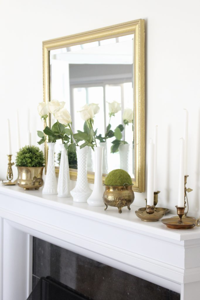Summer mantel- mantle decor- home decor- antique brass- candlesticks- milk glass- dining room decorating- dining room decor- DIY- farmhouse dining room- french country dining room- fireplace decor- summer decorating- decoration ideas- room design- thrift store shopping- antiques- fresh summer decorating