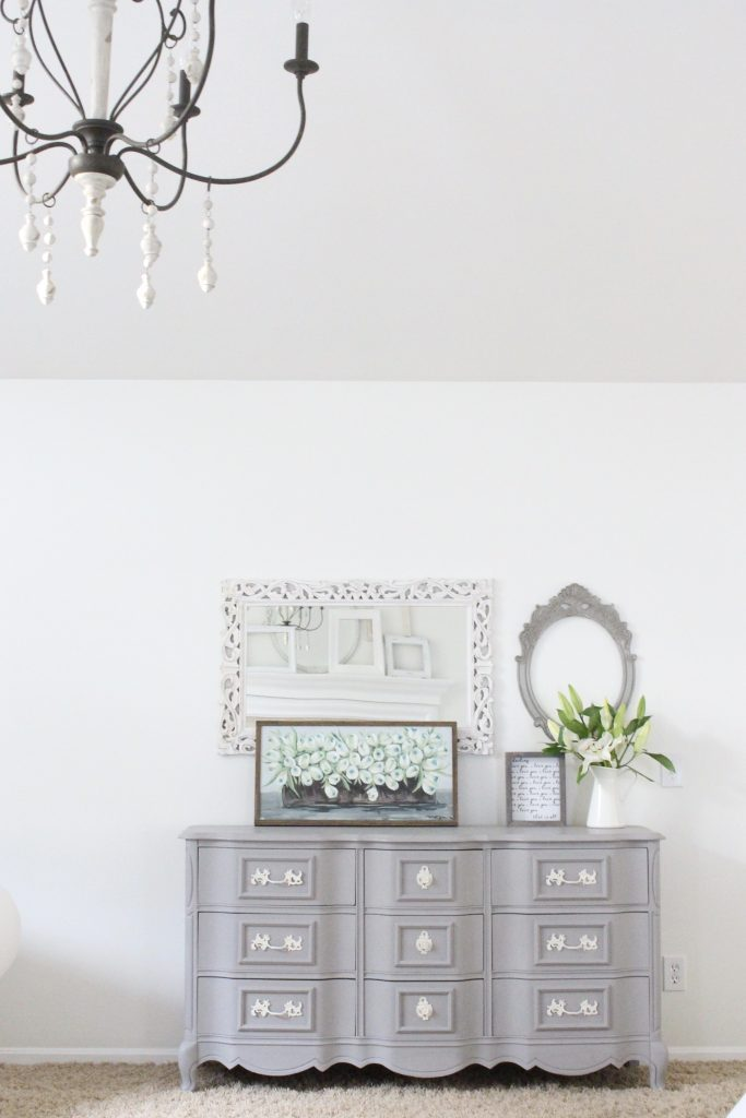 painted furniture- Deco Art- Artifact- home decor- DIY projects- gray painted dresser- master bedroom decor- bedroom design- cottage style- room decor ideas- white bedroom- farmhouse style- large master bedroom space- how to style a bedroom