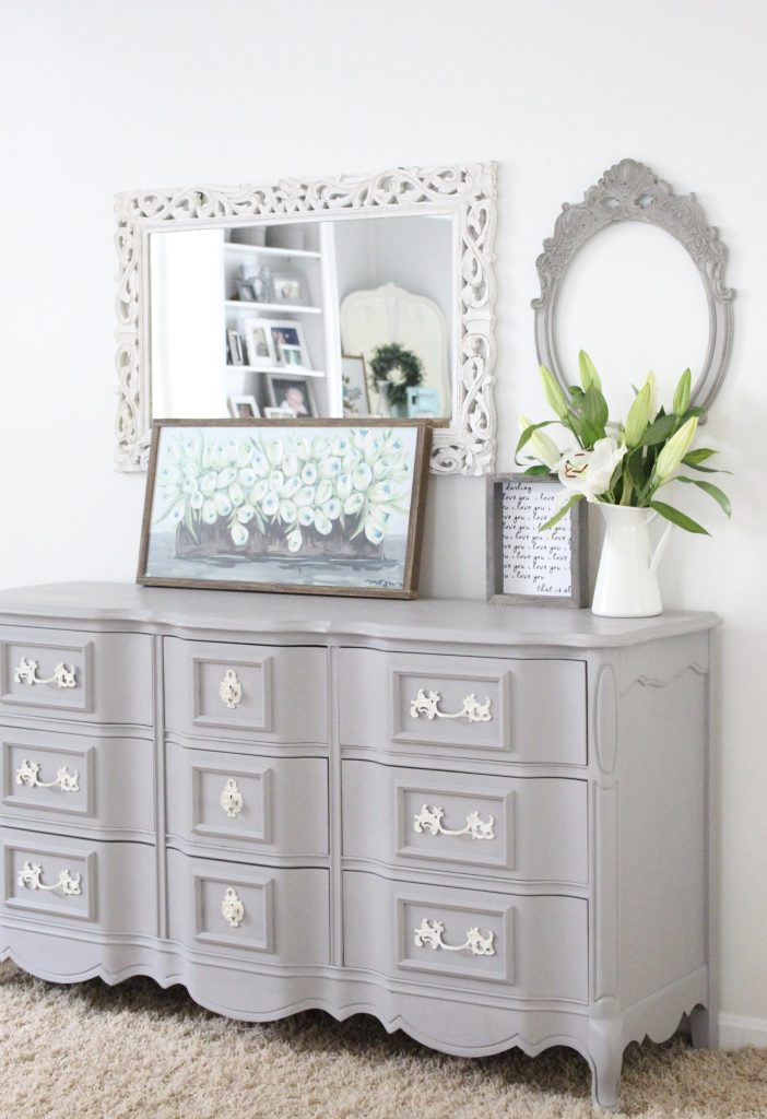 painted furniture- Deco Art- Artifact- home decor- DIY projects- gray painted dresser- master bedroom decor- bedroom design- cottage style- room decor ideas- white bedroom- farmhouse style- french country furniture
