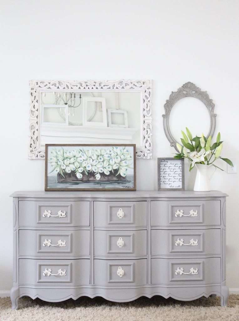 painted furniture- Deco Art- Artifact- home decor- DIY projects- gray painted dresser- master bedroom decor- bedroom design- cottage style- room decor ideas- white bedroom- farmhouse style- custom artwork