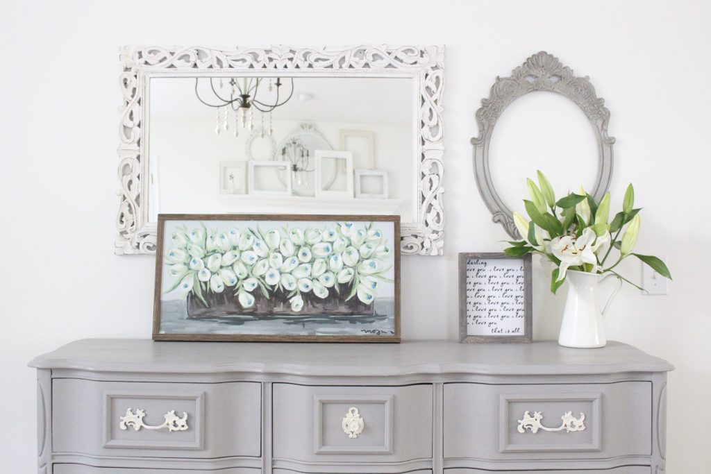 painted furniture- Deco Art- Artifact- home decor- DIY projects- gray painted dresser- master bedroom decor- bedroom design- cottage style- room decor ideas- white bedroom- farmhouse style- Sincerely US Art