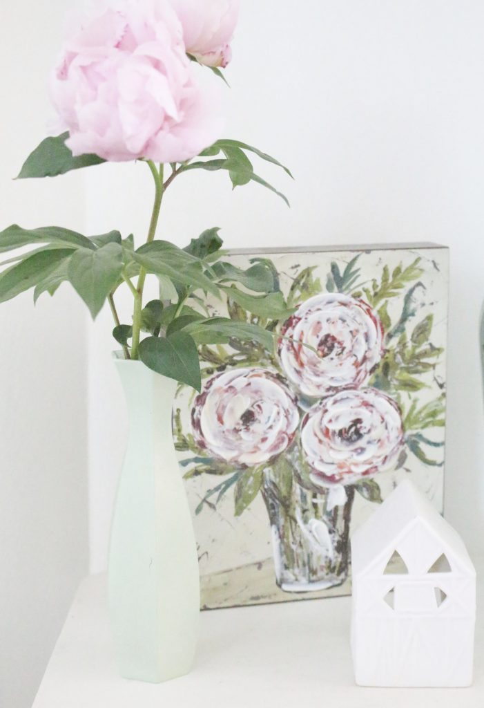 peony- flowers- gardening- vignette- how to - decorate- an entryway- entryway ideas- home decor- using flowers in decorating- faux milk glass- fiddle fig leaf- demijohn bottles- flower artwork- home design- painted furniture