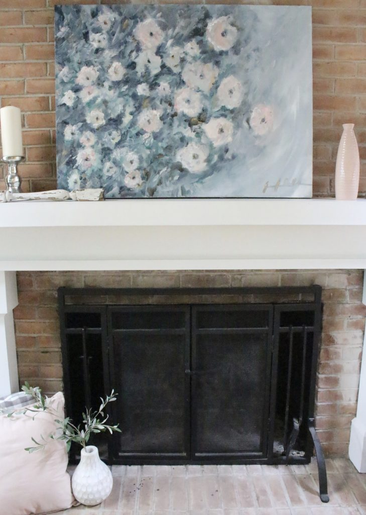 Artwork- flowers- painting- muted colors- wall gallery- home decor ideas- painting- Jennifer Collander- art- wall decor ideas- summer- fresh- room decor- pastel color palette- mantel decor