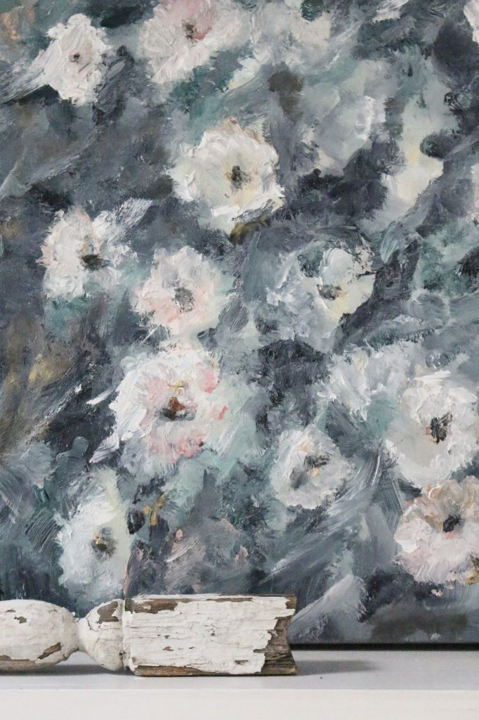 Artwork- flowers- painting- muted colors- wall gallery- home decor ideas- painting- Jennifer Collander- art- wall decor ideas- summer- fresh- room decor- pastel color palette- painting on canvas