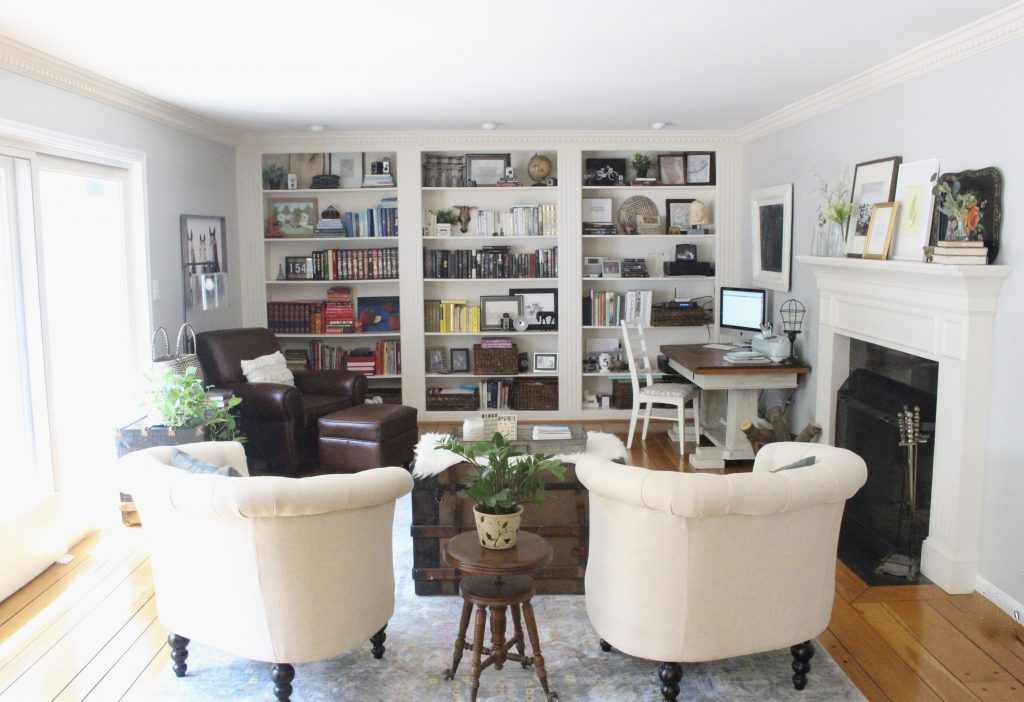 A multifunctional- living room- office- room design- tour- A wood dresser painted green- Amy Howard paints- One step paint- green- Cherbourg- how to use chalk paint- chalk painted finish- green furniture- how to paint furniture- home design- DIY- Do it Yourself project- painted furniture- crystal knobs- gray walls- antique pieces- home office space