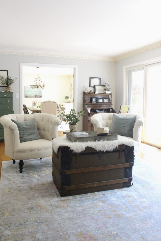 A multifunctional- living room- office- room design- tour- A wood dresser painted green- Amy Howard paints- One step paint- green- Cherbourg- how to use chalk paint- chalk painted finish- green furniture- how to paint furniture- home design- DIY- Do it Yourself project- painted furniture- crystal knobs- gray walls- antique pieces
