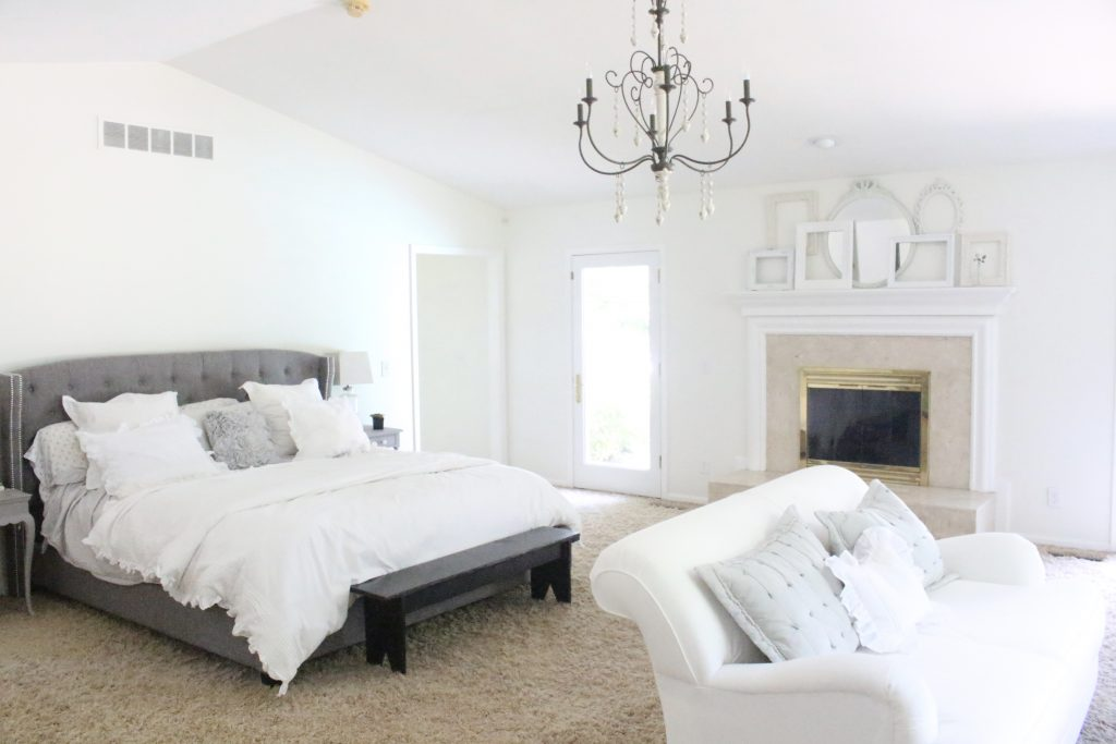 A light & Airy summer- bedroom- bedroom decor- bedroom ideas- bedroom decorating- master bedroom decor- home design- room design- painted furniture- shabby chic interior- design- white decorating ideas- large bedroom ideas
