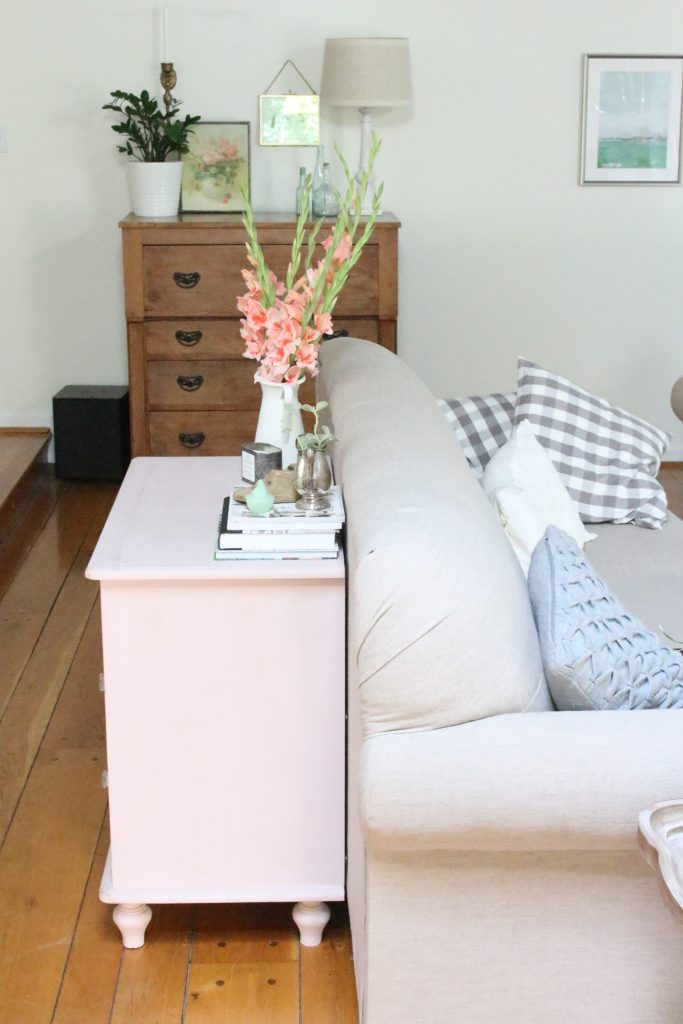 Pink paint- dresser- thrift store furniture- Annie Sloan- chalk paint- shabby chic- painted furniture- antique brass pulls- knobs- living spaces- home design ideas- decor ideas- painted ceiling- farmhouse style- living room- family room- decorating- gray and white with pink decor