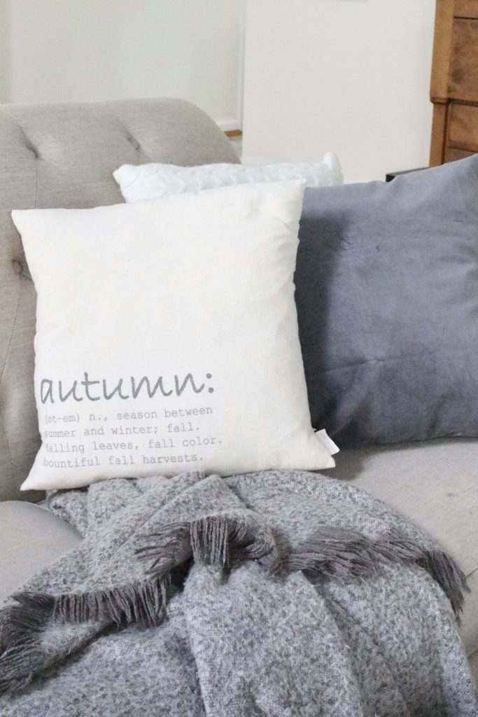 Fall pastels in our family room- pastel colors- neutrals- decorating for fall with pastel- seasonal decor- fall- autumn- living space- room design- wall decor- fall decor- pink- green- gray for autumn- decorating- decor ideas- non traditional colors for fall- seasonal pillow covers