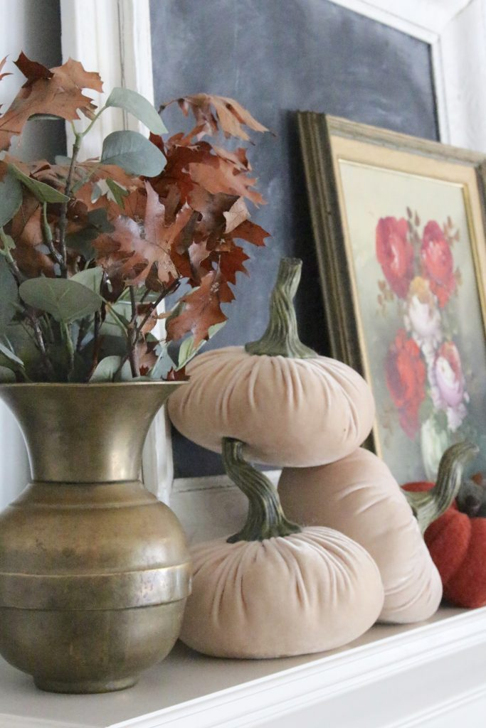 A vintage fall mantel- vintage- fall- classic- mantel- brass- fall decor- fall decorating- mantle- brass animals- velvet pumpkins- room design- mantel decor- decorating your mantel for fall- classic autumn decor- oil paintings- black tray- fireplace decor- seasonal- library- office- vintage tray
