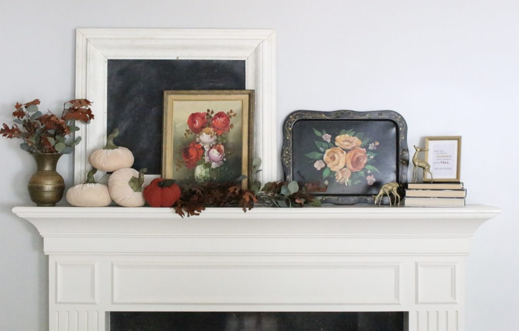 A vintage fall mantel- vintage- fall- classic- mantel- brass- fall decor- fall decorating- mantle- brass animals- velvet pumpkins- room design- mantel decor- decorating your mantel for fall- classic autumn decor- oil paintings- black tray- fireplace decor- seasonal- library- office- leaves