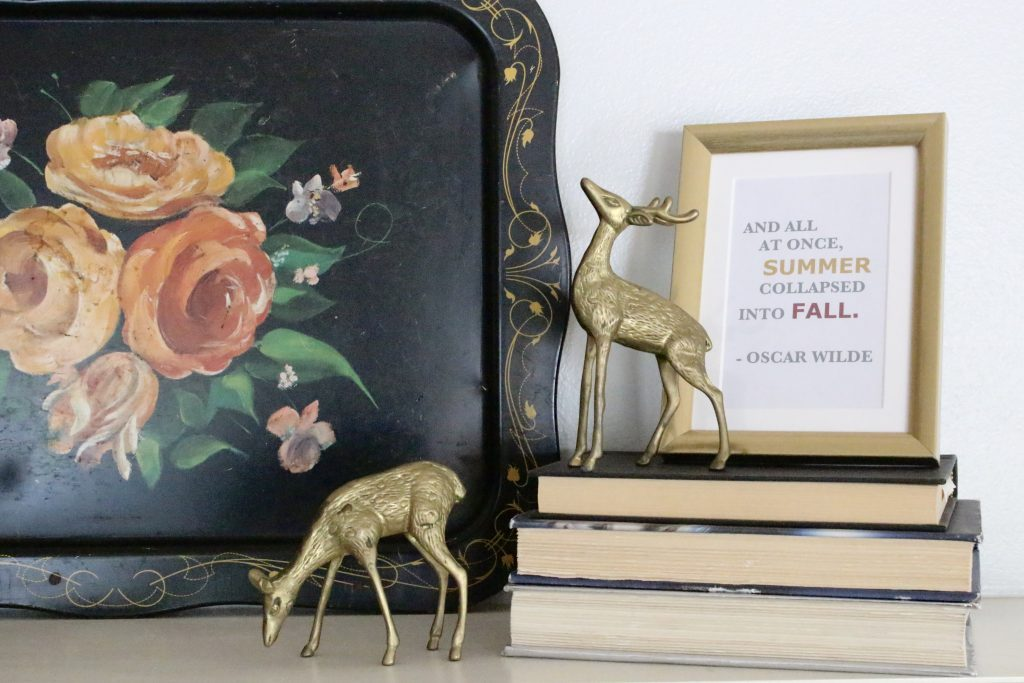 A vintage fall mantel- vintage- fall- classic- mantel- brass- fall decor- fall decorating- mantle- brass animals- velvet pumpkins- room design- mantel decor- decorating your mantel for fall- classic autumn decor- oil paintings- black tray- fireplace decor- seasonal- library- office- books- fall sign