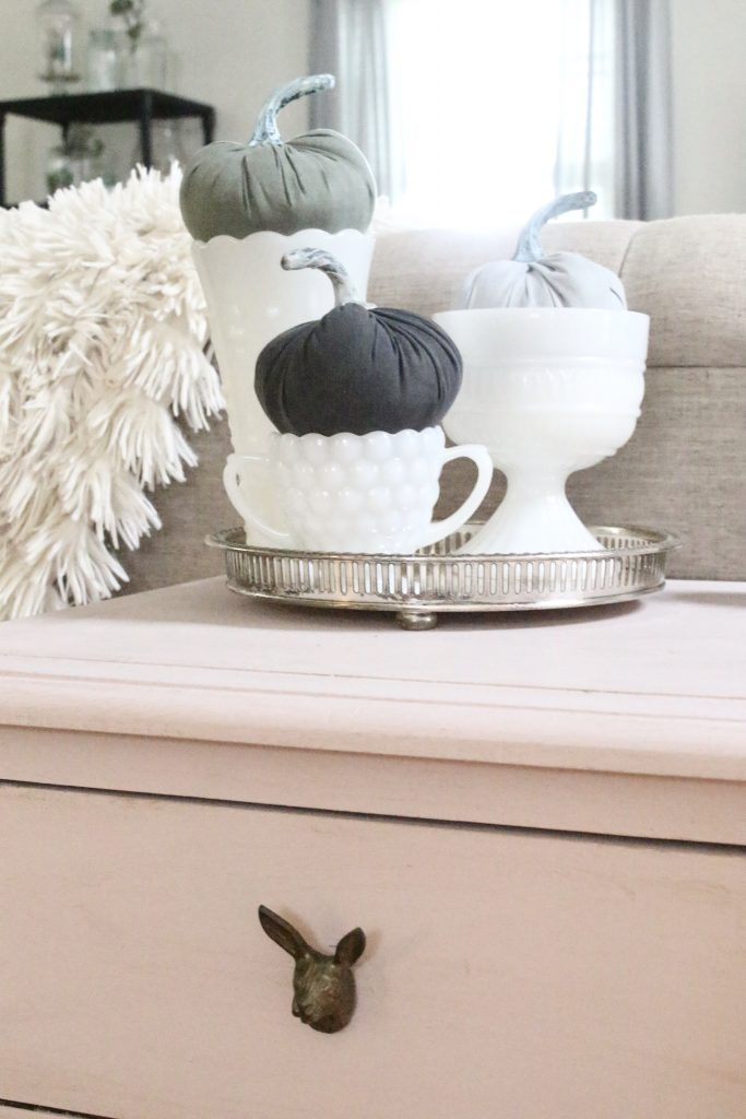 Fall pastels in our family room- pastel colors- neutrals- decorating for fall with pastel- seasonal decor- fall- autumn- living space- room design- wall decor- fall decor- pink- green- gray for autumn- decorating- decor ideas- non traditional colors for fall- pink paint- Annie Sloane