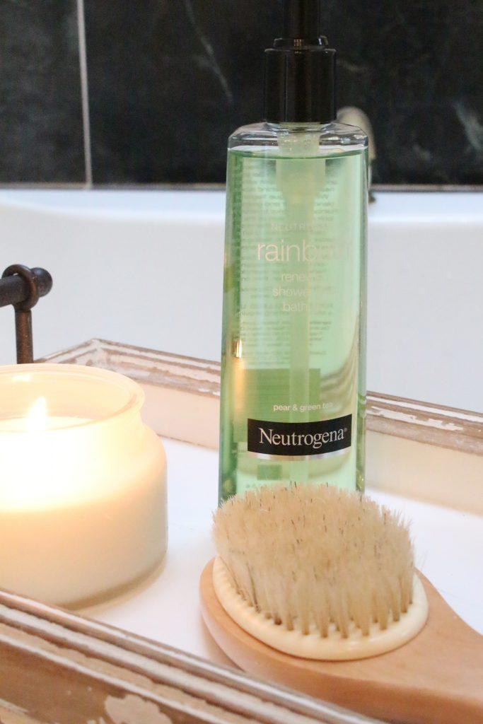 Neutrogena Rainbath at Walgreens- pampering yourself- bath and shower gel- bathroom tray- new bath product- Walgreens- Rainbath- spa products