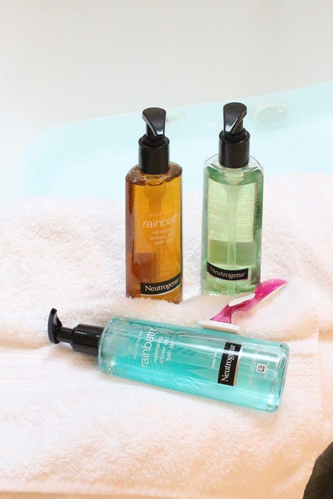 Neutrogena Rainbath at Walgreens- pampering yourself- bath and shower gel- bathroom tray- new bath product- Walgreens- Rainbath- creating a spa bath at home