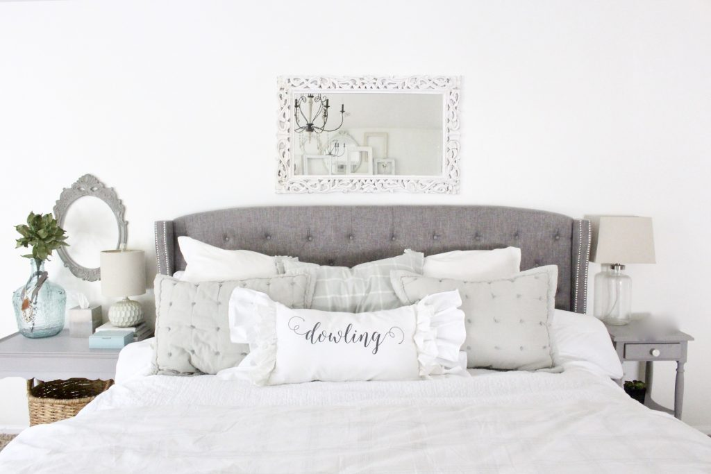 White Cottage Master Bedroom- gray- white- green- shabby chic bedroom- farmhouse decor- layered mirrors- painted gray furniture- DecoArt- Repose Gray- white bedding- white painted furniture- Armoire- fireplace in the bedroom- home design- large bedroom space- sitting area in the bedroom- bookshelves in a bedroom