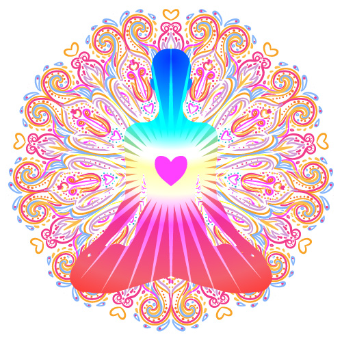 Heart Chakra concept. Inner love, light and peace. Silhouette in lotus position over colorful ornate mandala