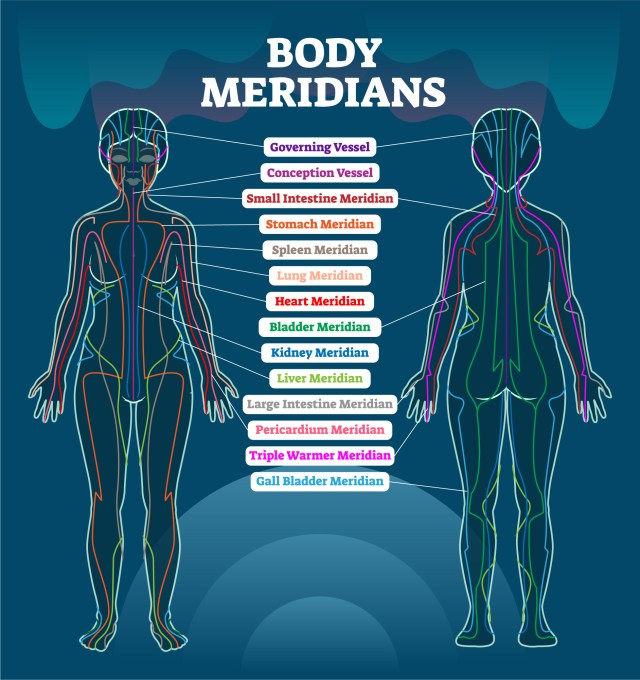 Body meridian system, Chinese energy acupuncture therapy diagram chart
