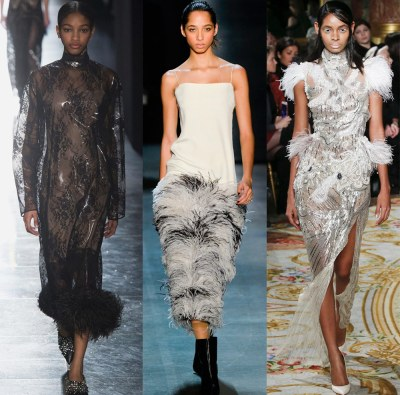 38 dresses with feathers for the New Year and other holidays