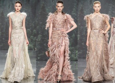 Evening dresses with feathers