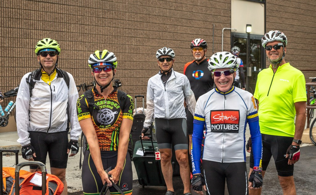 A few of the riders pose before setting out.
