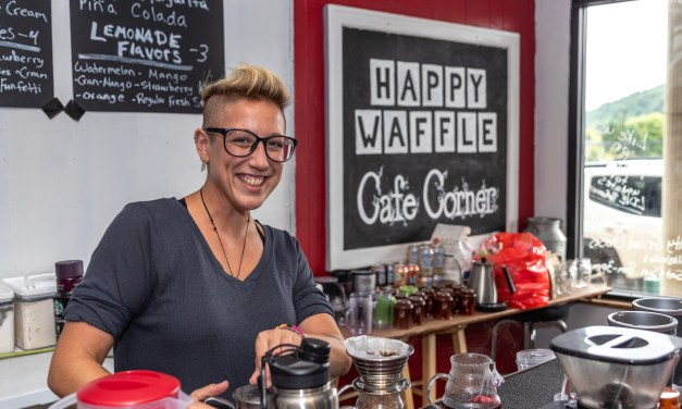 The Universe starts and ends at the Happy Waffle