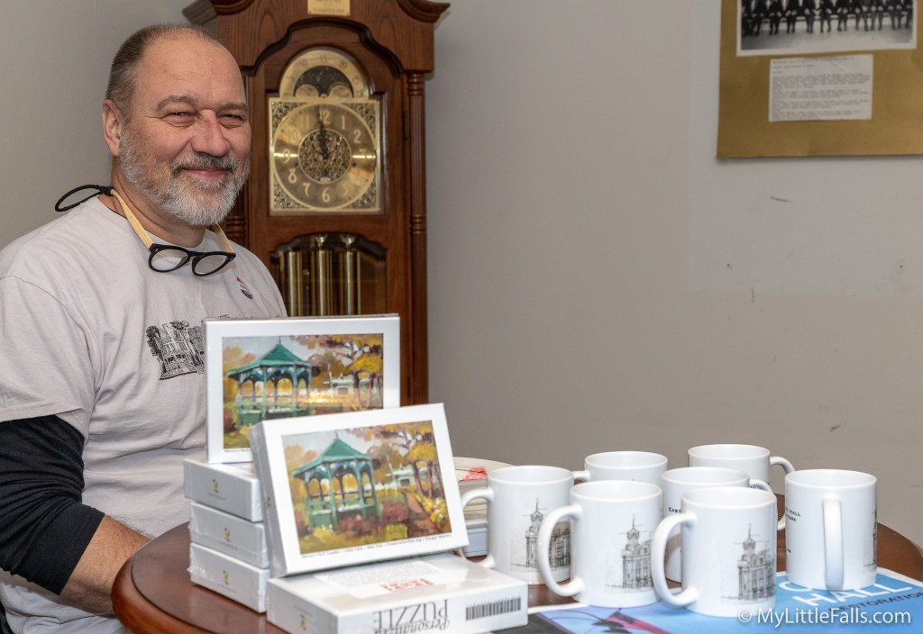 David Dardzinski sells items to raise funds for restoration work at City Hall.
