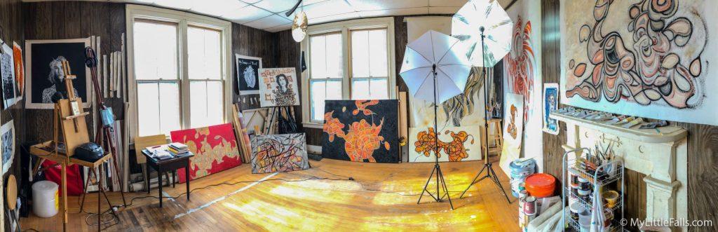 Photo by Dave Warner - A quick panoramic view of artist Elias Saifan's studio on Salisbury Street.
