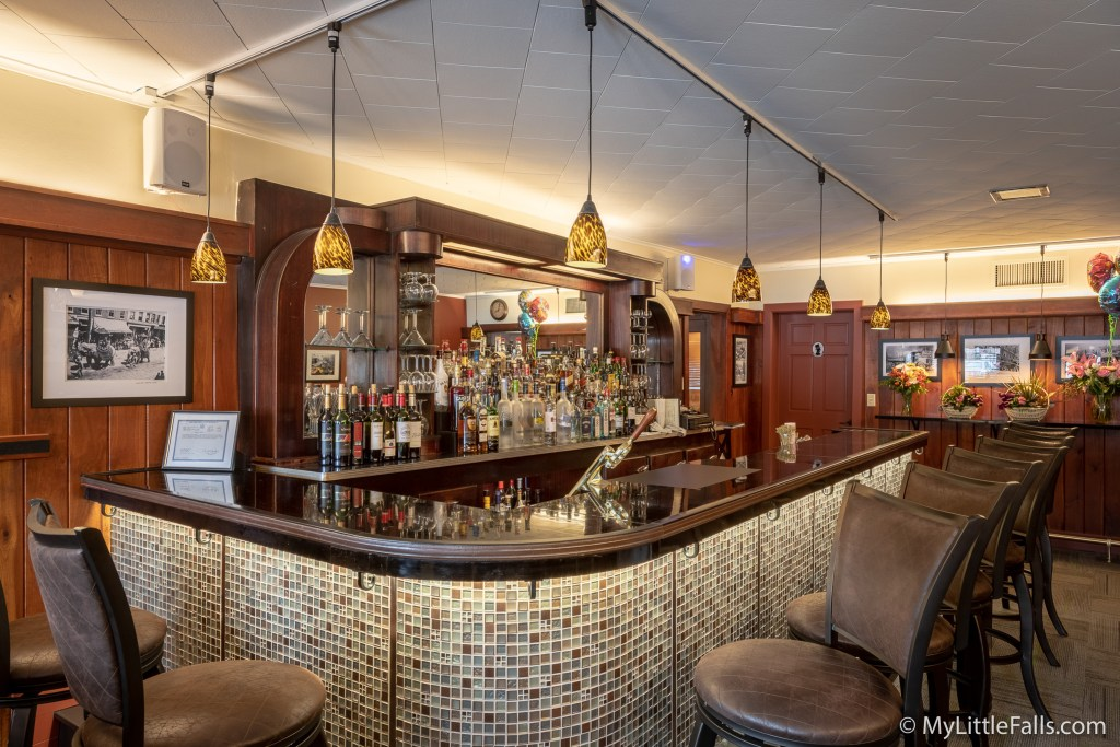 Photo by Dave Warner - The new updated bar area at Canal Side Inn. Under bar lighting, new tiles front, new barstools and even ladies purse hooks.
