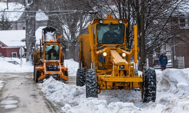 City workers still clearing snow from the streets