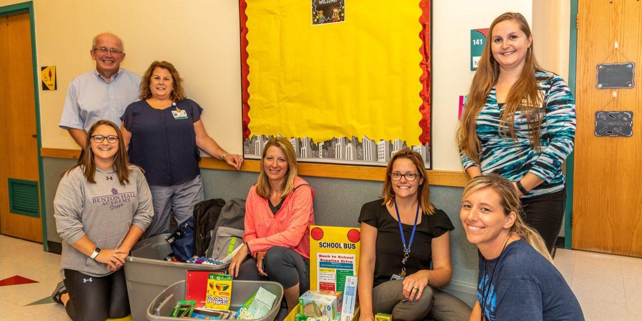 Little Falls Hospital employees donate school supplies