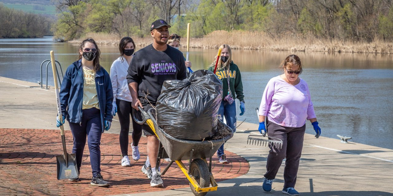 Rotary funds spring cleanup along the harbor and bike trails