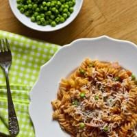 "Ham and Pea Pasta in ""Tomato Sauce"""