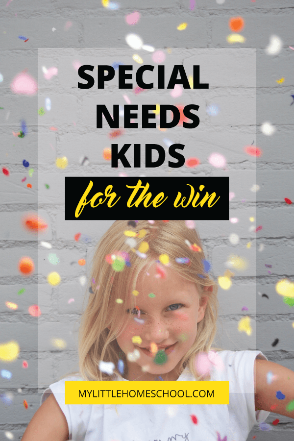 Special needs kids for the win and a blonde girl smiling and throwing confetti into the air