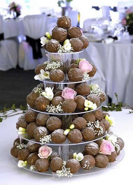 tarta buñuelos chocolate boda