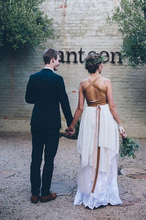 Vestido de novia detalle cuero