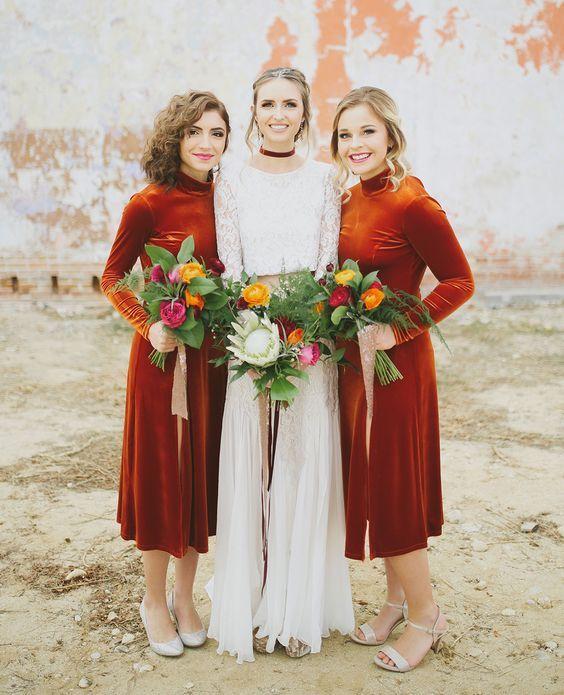 vestidos de terciopelo para damas de honor boda