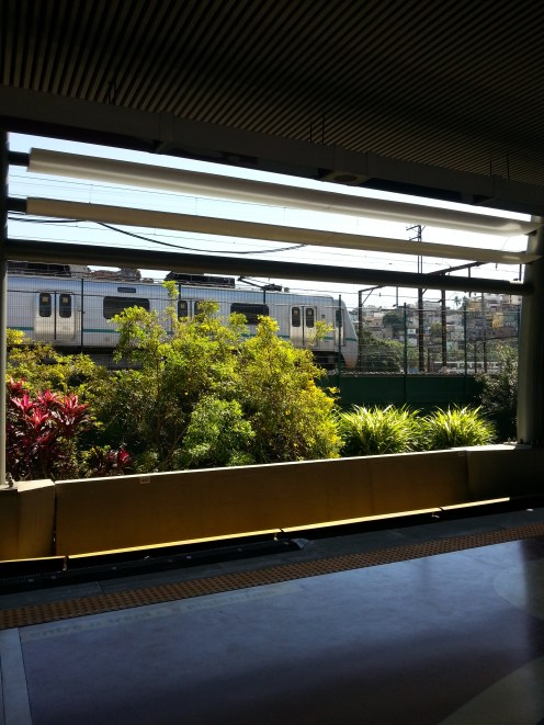 On the other side of the platform, we can see the railway