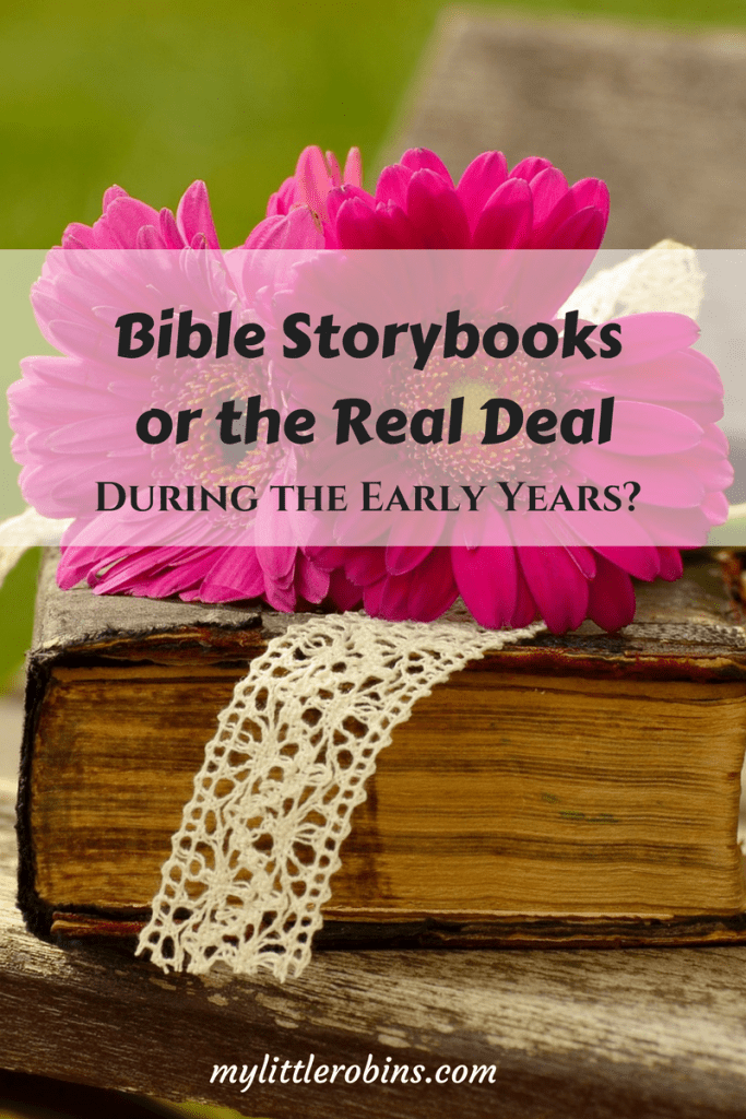 Should we read Bible Storybooks or the real Bible during the early years? I looked into some Charlotte Mason quotes to help you decide what's best for your family!