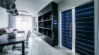 Double sliding black and white crystal door κρυστάλλινες πόρτες LOFT mylofteu