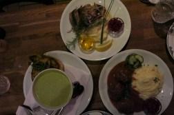 Pea soup, meat balls, pan fried fish