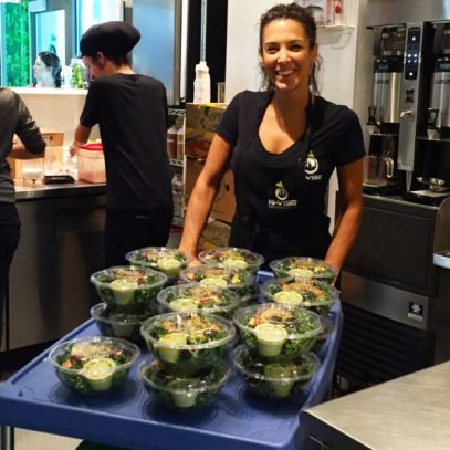 Making salads at HI-VIBE