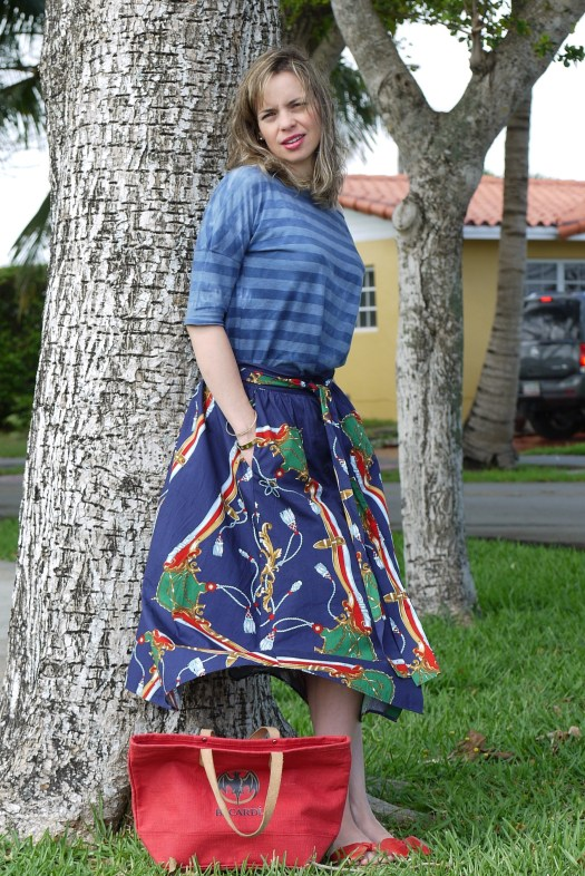 mix midi skirt with stripe tee by lovelypeople