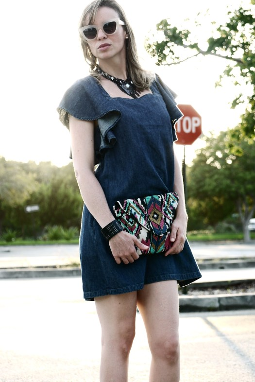 Denim ruffle dress with sparkling booties by Mylovelypeople