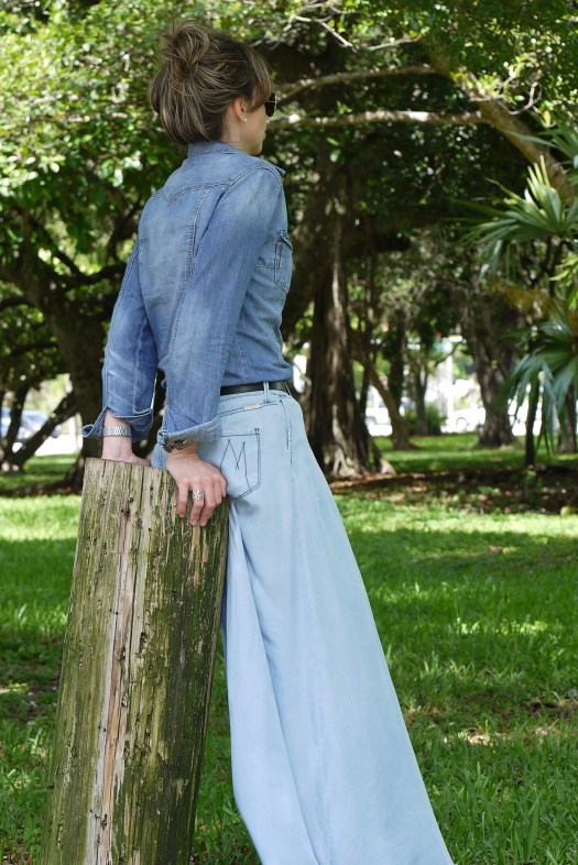 long denim skirt + denim shirt+gladiator sandals by Mylovelypeople