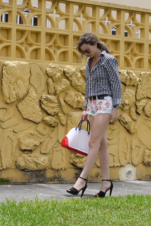 denim shorts + gingham boy shirt + pvc bag by Mylovelypeople