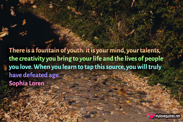 there is a fountain of youth it is your mind